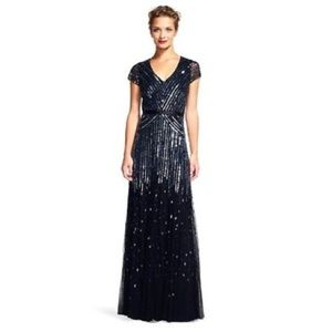 NWT ADRIANNA PAPELL BEADED V-NECK GOWN
